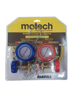 MANIFOLD MOTECH C/VISOR Y MANGUERAS 90 CM - R12/R22/R502/R134a
